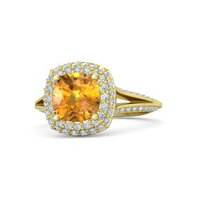 Cushion Citrine 18K Yellow Gold Ring with Diamond