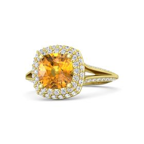 Cushion Citrine 18K Yellow Gold Ring with White Sapphire