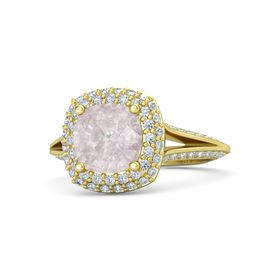 Cushion Rose Quartz 18K Yellow Gold Ring with Diamond