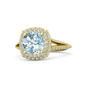 Cushion Aquamarine 18K Yellow Gold Ring with Diamond