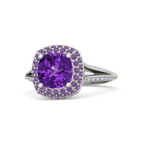 Cushion Amethyst Palladium Ring with Amethyst and Diamond