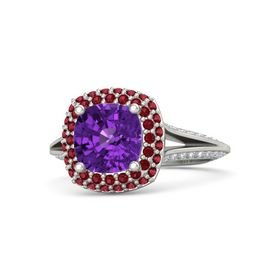 Cushion Amethyst Palladium Ring with Ruby & Diamond