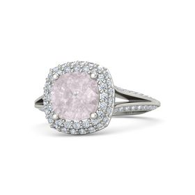 Cushion Rose Quartz Palladium Ring with Diamond