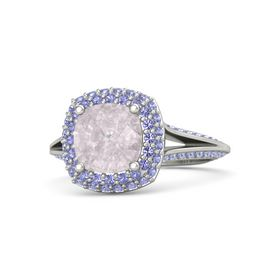 Cushion Rose Quartz Palladium Ring with Iolite
