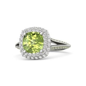 Cushion Peridot Palladium Ring with White Sapphire and Peridot