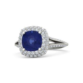Cushion Sapphire Palladium Ring with Diamond
