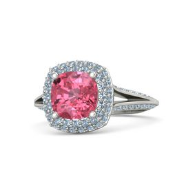 Cushion Pink Tourmaline Palladium Ring with Blue Topaz