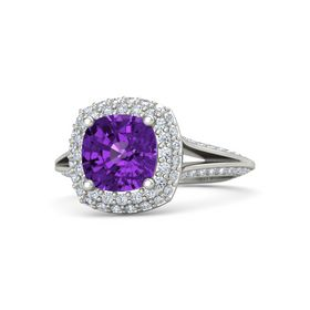 Cushion Amethyst Platinum Ring with Diamond