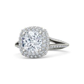 Cushion Diamond Platinum Ring with Diamond