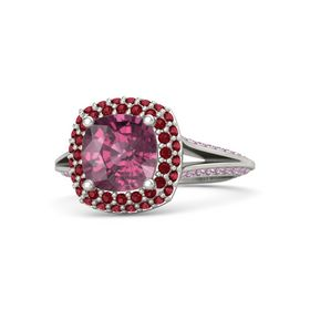Cushion Rhodolite Garnet Platinum Ring with Ruby and Pink Sapphire