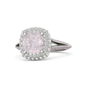 Cushion Rose Quartz Platinum Ring with White Sapphire & Pink Sapphire