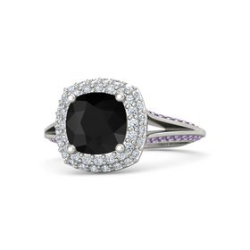 Cushion Black Onyx Platinum Ring with Diamond and Amethyst