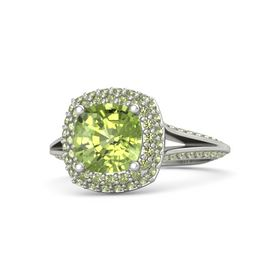 Cushion Peridot Platinum Ring with Peridot
