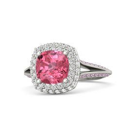 Cushion Pink Tourmaline Platinum Ring with White Sapphire & Pink Sapphire