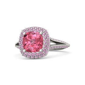 Cushion Pink Tourmaline Platinum Ring with Pink Tourmaline