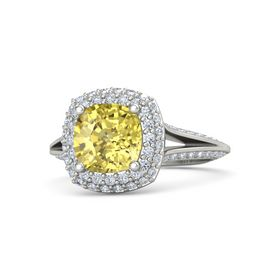 Cushion Yellow Sapphire Platinum Ring with Diamond