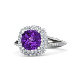 Cushion Amethyst Sterling Silver Ring with Diamond