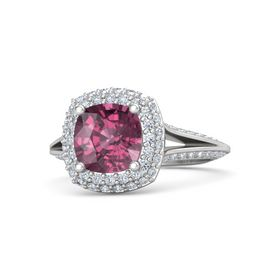 Cushion Rhodolite Garnet Sterling Silver Ring with Diamond