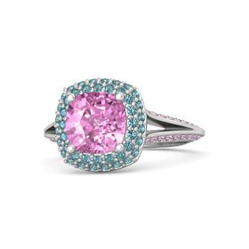 Cushion Pink Sapphire Sterling Silver Ring with London Blue Topaz and Pink Sapphire