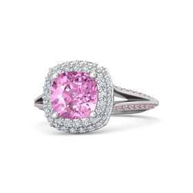 Cushion Pink Sapphire Sterling Silver Ring with Diamond and Pink Sapphire