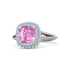 Cushion Pink Sapphire Sterling Silver Ring with Aquamarine & Pink Sapphire