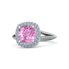 Cushion Pink Sapphire Sterling Silver Ring with Blue Topaz and London Blue Topaz
