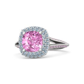 Cushion Pink Sapphire Sterling Silver Ring with Blue Topaz & Pink Sapphire