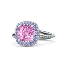 Cushion Pink Sapphire Sterling Silver Ring with Iolite and London Blue Topaz