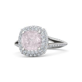 Cushion Rose Quartz Sterling Silver Ring with Diamond