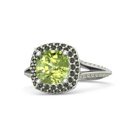 Cushion Peridot Sterling Silver Ring with Green Tourmaline and Peridot