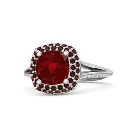 Cushion Ruby Sterling Silver Ring with Red Garnet and White Sapphire