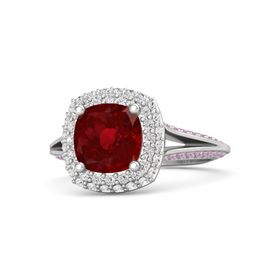 Cushion Ruby Sterling Silver Ring with White Sapphire and Pink Tourmaline