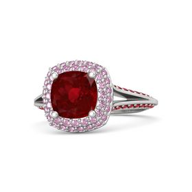 Cushion Ruby Sterling Silver Ring with Pink Sapphire and Ruby