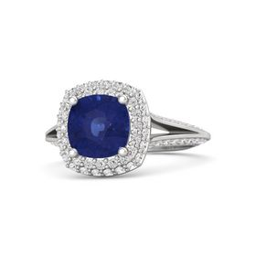 Cushion Sapphire Sterling Silver Ring with White Sapphire