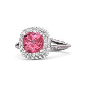 Cushion Pink Tourmaline Sterling Silver Ring with White Sapphire & Pink Sapphire