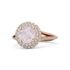 Round Rose Quartz 14K Rose Gold Ring with Diamond