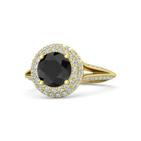 Round Black Diamond 14K Yellow Gold Ring with Diamond