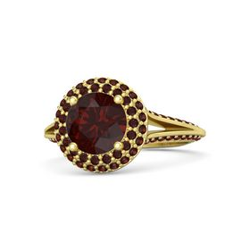 Round Red Garnet 14K Yellow Gold Ring with Red Garnet