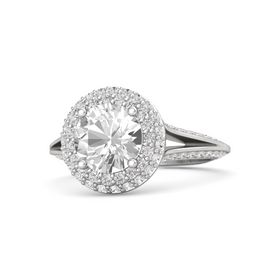 Round Rock Crystal Sterling Silver Ring with White Sapphire