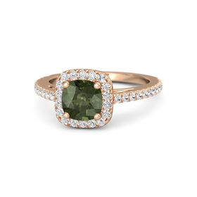 Cushion Green Tourmaline 14K Rose Gold Ring with White Sapphire