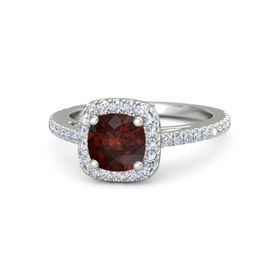 Cushion Red Garnet 14K White Gold Ring with Diamond