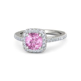 Cushion Pink Sapphire 14K White Gold Ring with Diamond