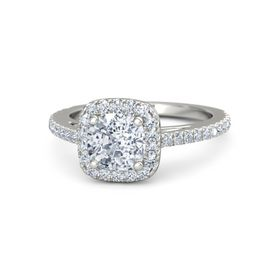 Cushion Moissanite 14K White Gold Ring with Diamond