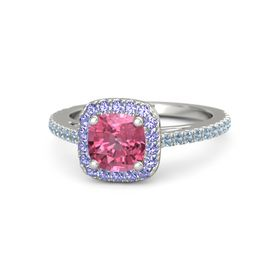 Cushion Pink Tourmaline 14K White Gold Ring with Iolite and Blue Topaz