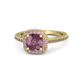 Cushion Rhodolite Garnet 14K Yellow Gold Ring with Rhodolite Garnet