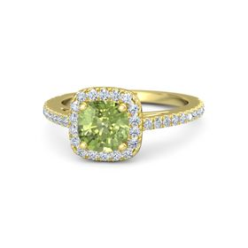 Cushion Peridot 14K Yellow Gold Ring with Diamond