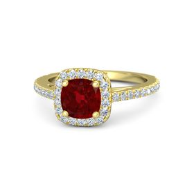 Cushion Ruby 14K Yellow Gold Ring with Diamond