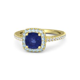 Cushion Blue Sapphire 14K Yellow Gold Ring with Aquamarine and White Sapphire