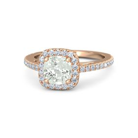 Cushion Green Amethyst 18K Rose Gold Ring with Diamond