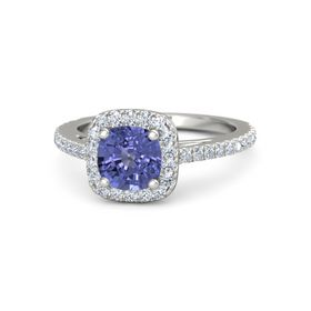 Cushion Tanzanite 18K White Gold Ring with Diamond